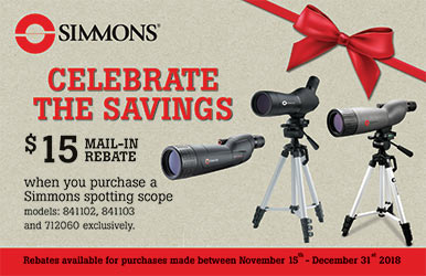 Get a $15 rebate when you purchase a spotting scope.